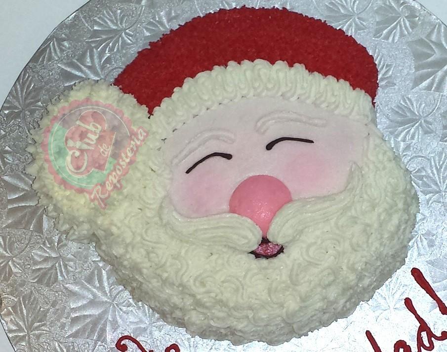 Torta o Pastel decorado con la cara de Papá Noel por Rosa Quintero